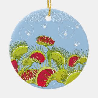 blue fly trap ceramic ornament