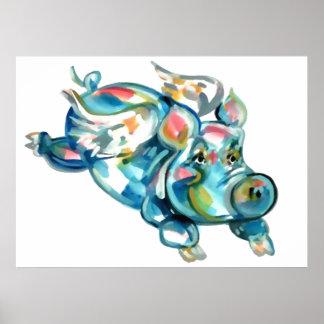 Blue Flying Pig Angel Poster