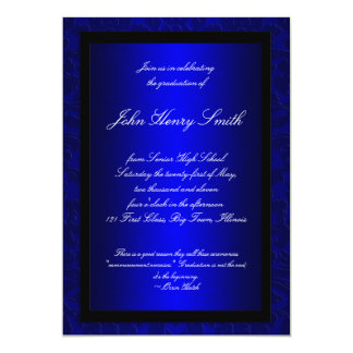 Blue Foil Graduation Invitation