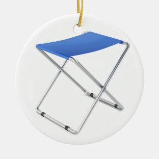 Blue folding stool ceramic ornament