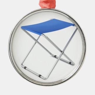 Blue folding stool metal ornament