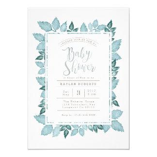 Blue Foliage | Watercolor Baby Shower Invite