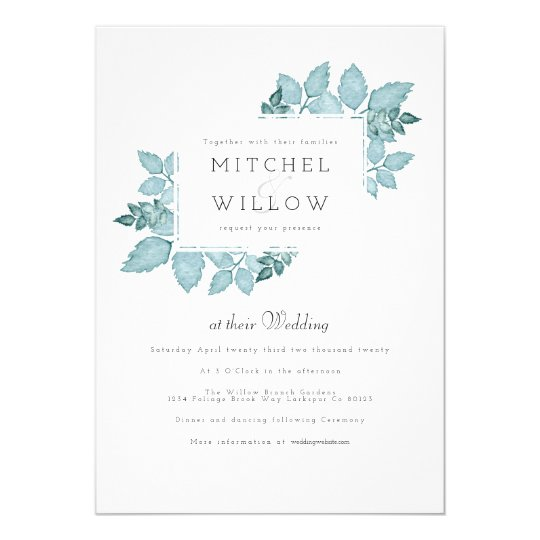 Blue Foliage Watercolor | Wedding Invite