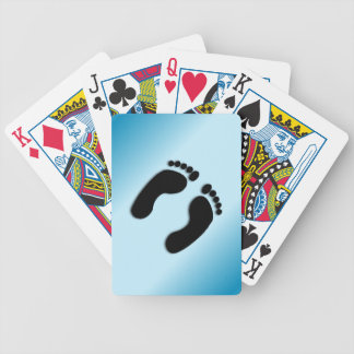 Blue Foot Prints Bicycle Playing Cards