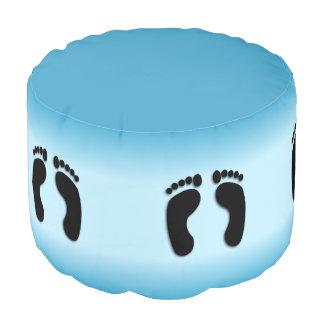 Blue Foot Prints Pouf