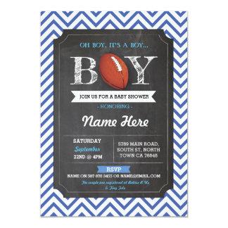 Blue Football Boy Baby Shower Rugby Invitation