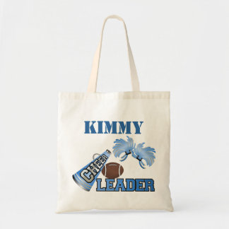 Blue Football Cheerleader Canvas Tote Bag