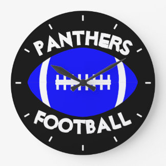 Blue Football Coach/Player Custom Team Name/Text Large Clock