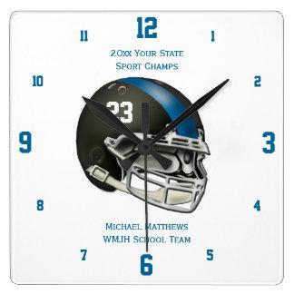 Blue Football Helmet Name and School Clock