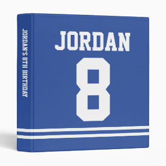 Blue Football Jersey - Sports Theme Birthday Party 3 Ring Binders