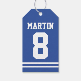 Blue Football Jersey - Sports Theme Birthday Party Gift Tags