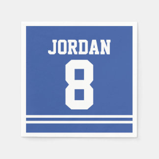 Blue Football Jersey - Sports Theme Birthday Party Paper Napkins