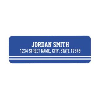 Blue Football Jersey - Sports Theme Birthday Party Return Address Label