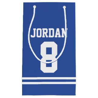 Blue Football Jersey - Sports Theme Birthday Party Small Gift Bag
