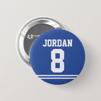 Blue Football Jersey with Custom Name and Number 2 Inch Round Button
