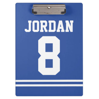 Blue Football Jersey with Custom Name and Number Clipboard