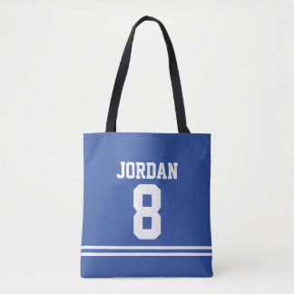Blue Football Jersey with Custom Name and Number Tote Bag