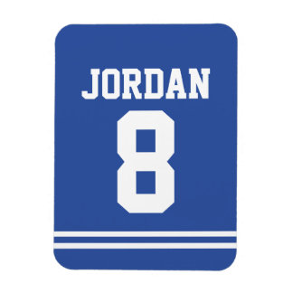 Blue Football Jersey with Number Magnet
