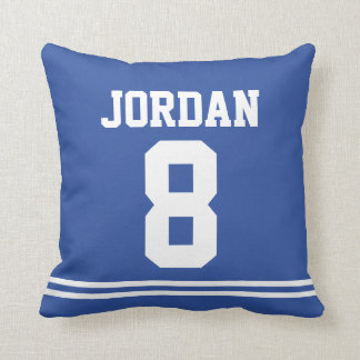 Blue Football Jersey with Number Throw Pillow