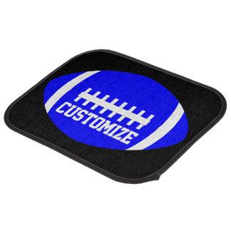 Blue Football Player or Coach Custom Team Name Car Mat