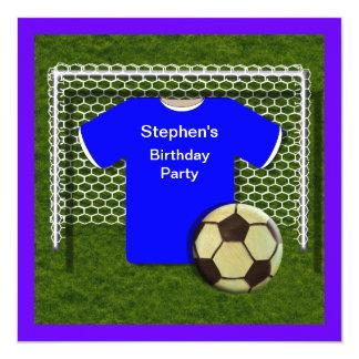 Blue  Football Theme  Birthday Party Invitations
