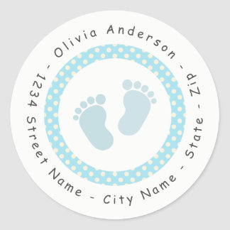 Blue Footprint Baby Shower Return Address Label
