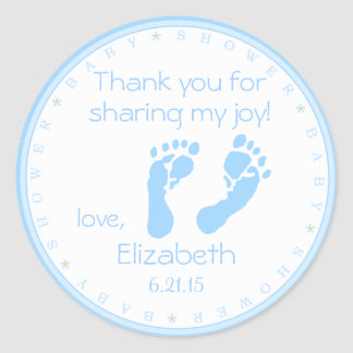 Blue Footprints Boy Baby Shower Thank You Classic Round Sticker