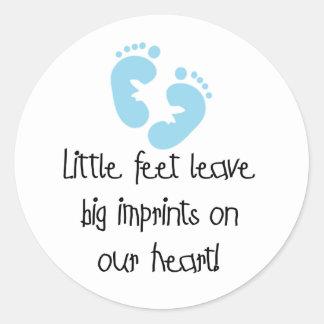 Blue Footprints Classic Round Sticker