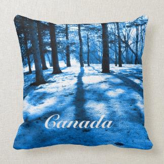 Blue Forest Canada Souvenir Snow Trees Beautiful Throw Pillow