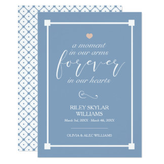 Blue Forever In Our Hearts Baby Memorial Card