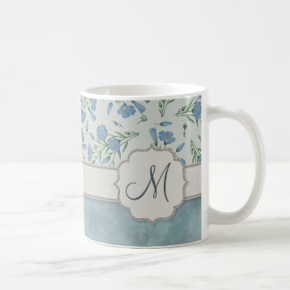 Blue Forget-Me-Not Floral and Marble with Monogram Coffee Mug