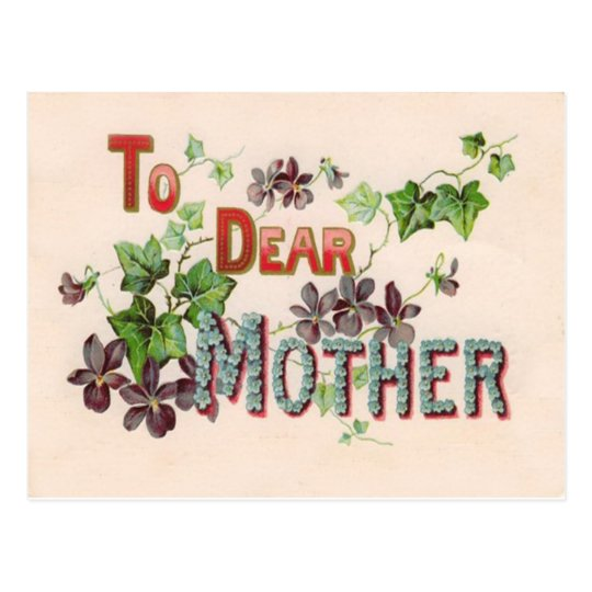 Blue Forget Me Nots Purple Mother's Day Card