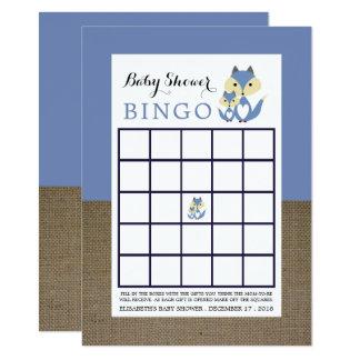 Blue Fox Burlap Baby Shower Bingo Card