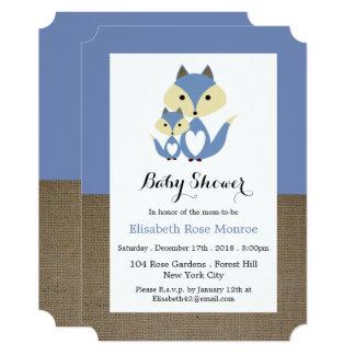 Blue Fox Burlap Baby Shower Card