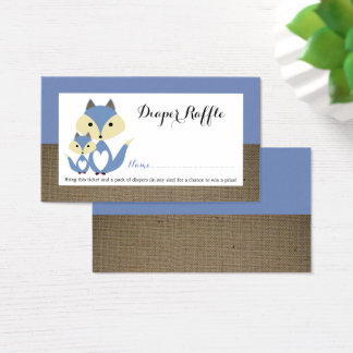 Blue Fox Burlap Baby Shower Diaper Raffle Ticket