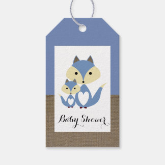 Blue Fox Burlap Baby Shower Pack Of Gift Tags