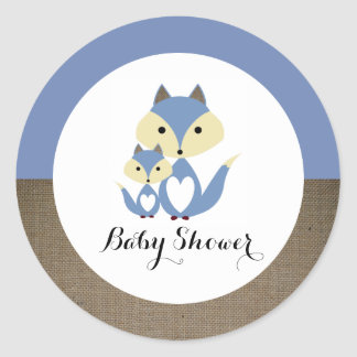 Blue Fox Burlap Baby Shower Round Sticker