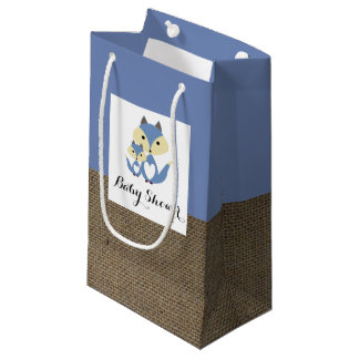 Blue Fox Burlap Baby Shower Small Gift Bag