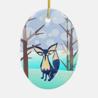 Blue Fox in the Winter Woods Ceramic Ornament