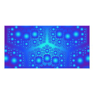 Blue Fractal Explosions: Photo Card Template