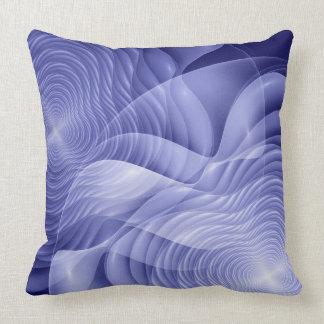 Blue fractal flowers throw pillow