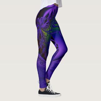Blue Fractal Lace Leggings