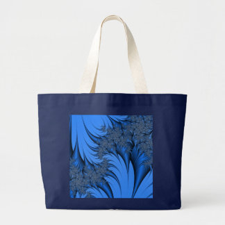 Blue Fractal Large Tote Bag