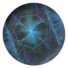 Blue Fractal Pattern Plate