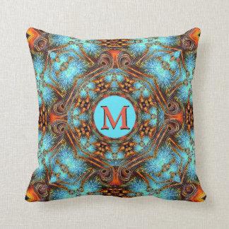 Blue Fractal Rust Peacock Monogram Pillow