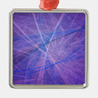 Blue fractal Silver-Colored square ornament