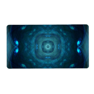 Blue Fractal Square Circle Tunnels Design Shipping Label