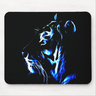 Blue Fractalius Tiger Mouse Pad