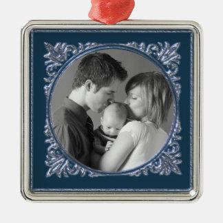 Blue Frame Silver-Colored Square Ornament