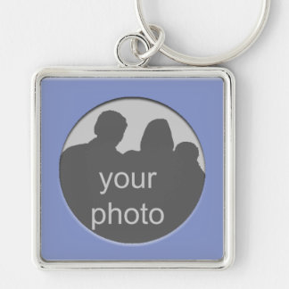 Blue Frame Your Photo Premium Keychain
